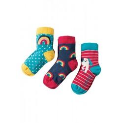 Socks - Frugi - Susie Socks 3 Pack - Unicorn - UK 6-8, UK 9-12