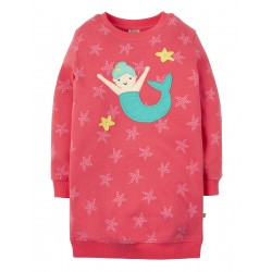 Dress - Frugi - SS19  - Eloise Jumper Dress - Coral Starfish Spot Mermaid -  2-3,  5-6, 6-7, 7-8y