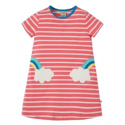 Dress - Frugi - SS19 - Paige Pocket Dress - Coral Chunky Breton Clouds - 2-3, 3-4, 4-5,  5-6,  7-8, 8-9, 9-10y - new