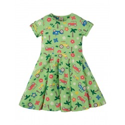 Dress - Frugi - SS19 - Spring Skater Dress -  soft Green Tropical Tractors - 2-3, 8-9. 9-10y