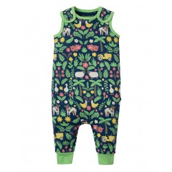 Dungarees - Frugi - SS19 - drop 2 - Kneepatch Dungaree - Marine Blue Farm Floral - 0-3, 3-6, 6-12, 12-18, 18-24m and 2-3y - new