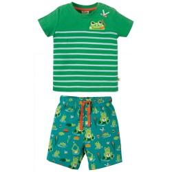 Set - Frugi - SS19 -  Mousehole Outfit - Samson Green Frog Pond Frog  - 0-3, 3-6, 12-18, 18-24m