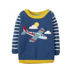 Jumper - Frugi - SS19 -  Jack Knitted --Marine Blue planes - 6-12, 12-18, 18-24m  and 2-3,  3-4y  - NEW