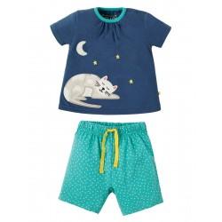 Pyjamas - Frugi - SS19 - drop 2- Little Peony PJ - Marine Blue Cat - 12-18, 18-24m and 2-3, 3-4y - new