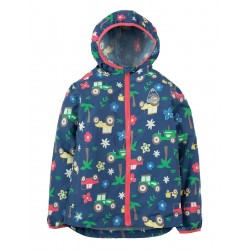 Puddle Buster- Frugi - ss19 - drop 2 - Puddle Buster Pack Away Jacket- Marine Blue Tractors - 1-2, 2-3, 3-4, 4-5, - new