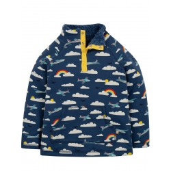 Fleece - Frugi - SS19 - Marine Blue Fly Away Plane  - 6-12, 12-18, 18-24m and  2-3, 3-4, 4-5, 5-6, 6-7, 7-8, 8-9, 9-10y - new