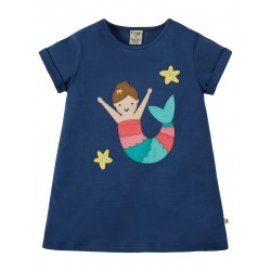 Top - Frugi - SS19 -- Sophie Applique Top -  Marine Blue Mermaid - 2-3, 7-8, 8-9, 9-10y