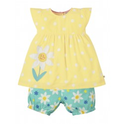 Set - Frugi - SS19 - drop 3 - Waterfall Woven Outfit - Daffodils - 0-3, 3-6, 6-12, 12-18, 18-24m and 2-3y, 3-4y - new