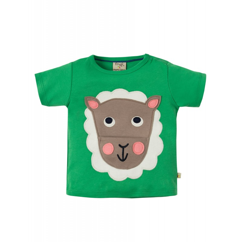 Top - Frugi - Polzeath - Field Dark Green - Sheep - 0-3m and 2-3 - sale