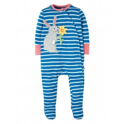Babygrow - Frugi - SS19 - Swoop - Sail Blue Chunky Breton Rabbit - 0-3, 3-6, 6-12m  - new