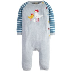Romper - Frugi - Cosy Knitted Romper - Grey Marl Chickens - 3-6m and 12-18m - sale