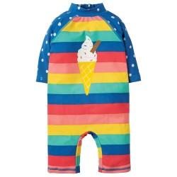 Sunsafe suit  - SWIM Suit with UPF 50+ factor - Frugi - Bright Rainbow Stripe ice cream cone -  3-4y -   SALE