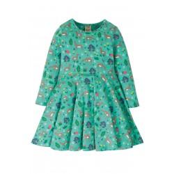 Dress - Frugi -  Skater - Sofia - Aqua deer - 2-3, 6-7, 7-8, 9-10 y -sale