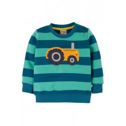 Jumper - Frugi - Jump about jumper - Aqua Tractor  - 6-12, 12-18m and  2-3y -sale promotion
