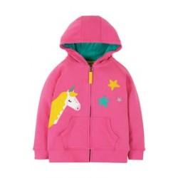 Hoody - Frugi - Harley - Flamingo Pink - Unicorn - sale