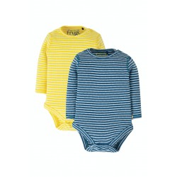 Body - Frugi - 2 pack - Pointelle - Yellow and Blue stripe - last item -45% off clearance sale