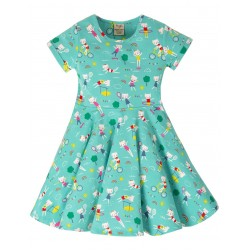 Dress - Frugi  - Skater - Fun At The SPORTS Games -  Short Sleeved - CATS - 2-3y  - last 2 -  45% off clearance sale