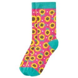 Adult - Frugi - Big Foot Socks -  Pink sunflowers - size 4-7 adult - sale