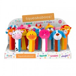 Toy - Squeakaboos - choice - lion, elephant, giraffe, sheep, cow, duck, pig, cat, dog, teddy (pink or blue) - 1 x supplied