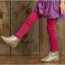 Leggings - Hatley Girls - Warm knitted  magenta SALE 4-5, 8-9