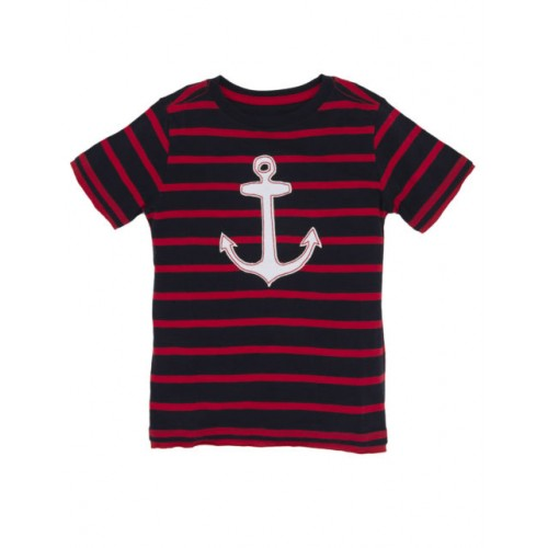 Top -  Hatley Anchor - 5, 6, 7y (black and white stripes and white anchor/red stitch)