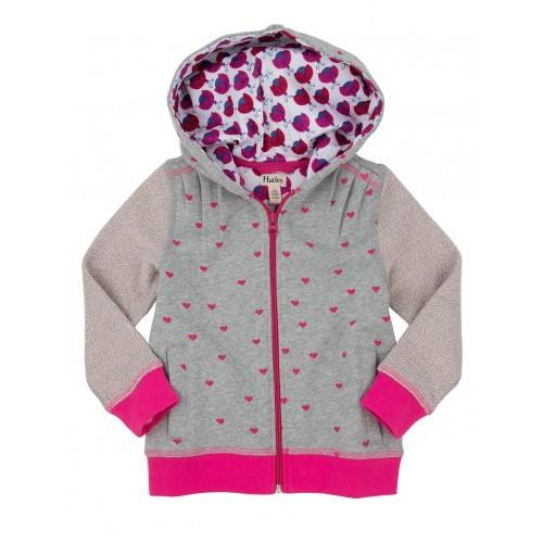 Jacket - Hatley Girls Hoody - Lady Bug Garden - Little hearts  -SALE 6, 7 y