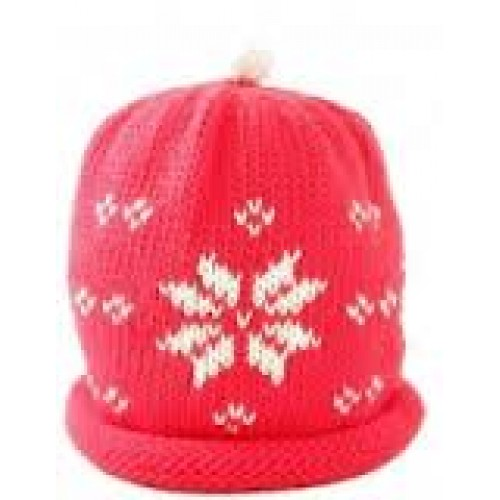 Hat - Red Snowflake - 3-6m last one