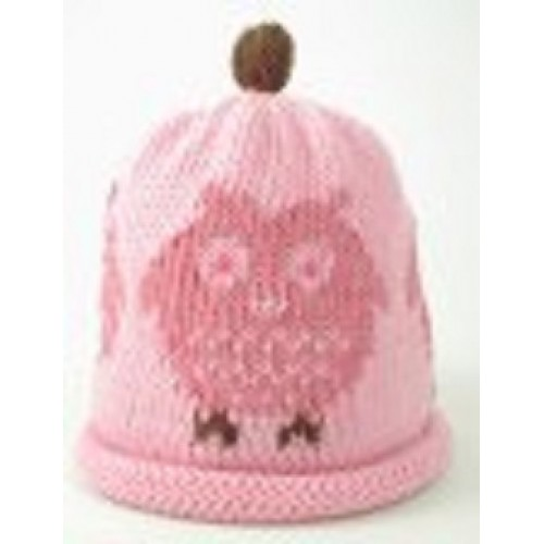 Hat - Pink Owl 0-3, 6-12m sale