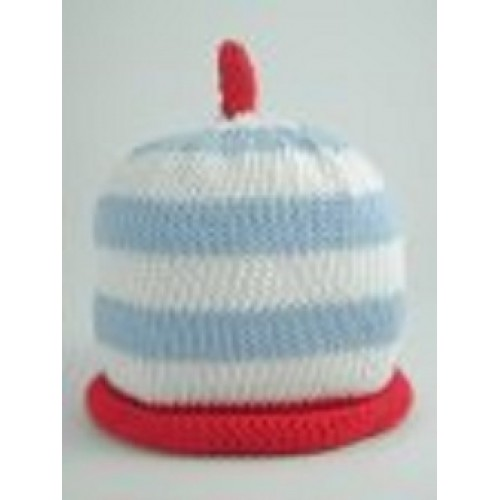 Hat - Sky/white/red stripe  0-3, 3-6 sale