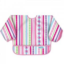 Bib - sleeved bib for girls -  ribbons
