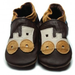 Shoes - Toot Train Brown - 0-6, 6-12m