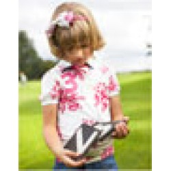 Top - Joules - Girls  Polo in Pink Posy - 5, 6, 8y SALE