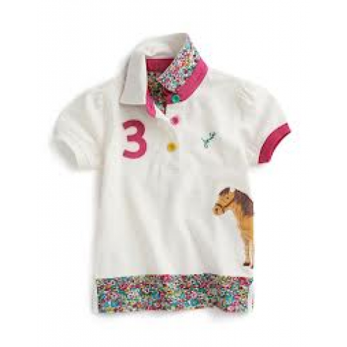 Top - Joules - Girls  Polo in Creme -  5, 6, 7y SALE