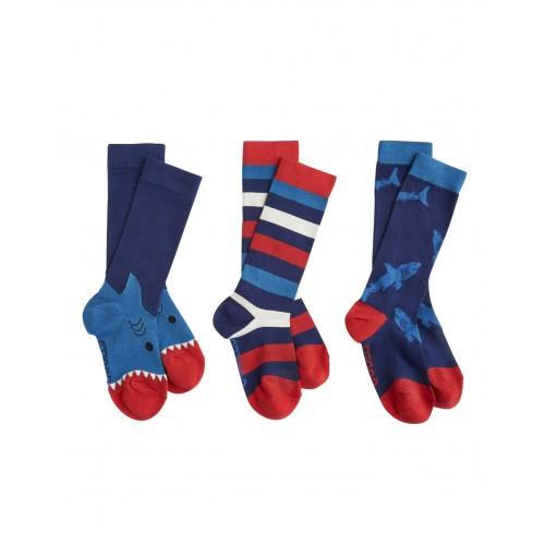 Socks - Boys Shark 3pc  - M/L 13-3 shoe - sale