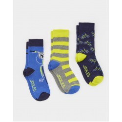 Socks - Joules Boys BRILL BAMBOO 3 PACK SOCKS - BIKE  - S/M 9-12 - 1x  and  M/L 13-3  3x