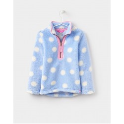 Fleece - Joules Girls Merridie - sky blue spot-  3-4 , 9-10 - sale
