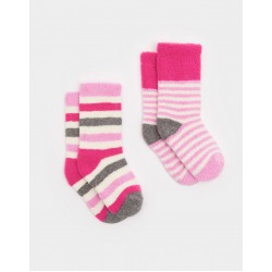 Socks - Joules Baby Terry warm - True pink - 0-6, 6-12, 1-2, 2-3y