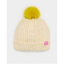 Hat - Joules Girls  Bobble - cream s/m (3-7y)  - sold