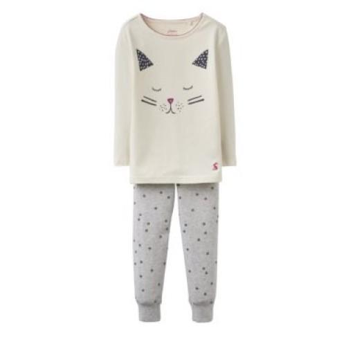 PJ - Joules Girls SLEEPWELL Creme Cat 5-6y