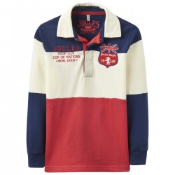 Sweatshirt - Joules Boys Winner Rugby Shirt - Red 3-4y last one