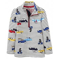 Sweatshirt - Joules Baby DALE -  Cream Stripe Car - 1, 2, 3, 4, 5, 6y