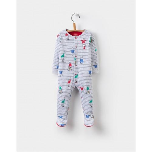 Babygrow - Joules ZIGGY BABYGROW - Greay bear stripe  9-12 - sale last one