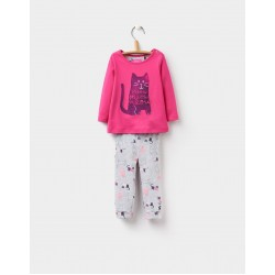 Set - Joules Baby POPPY TOP AND BOTTOMS SET - pink cat - 12-18m, 18-24m