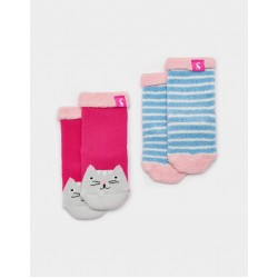Socks - Joules Baby Terry -  2 Pack - CAT - 0-6, 6-12, 1-2, 2-3y