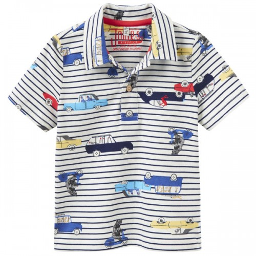 Top -  JOULES  Boys YOUNG HERBIE CREAM STRIPE CAR - 3, 4, 5, 6y