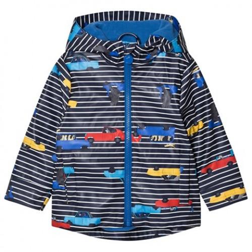 RAINCOAT - Joules - BOYS Navy Stripe Car Print Hooded Raincoat - 3, 4y - sale