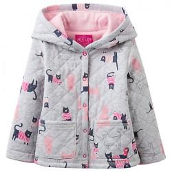 Sweatshirt - Joules - Baby  Cuddle Cat Hood Coat, Grey Marl - 0-3, 12-18, 18-24m