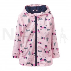 RAINCOAT - Joules  - Girls Raindance Waterproof Rubber Coat - age 4y -  Rose Pink Cat - sale