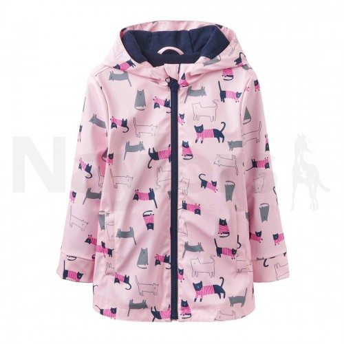 Coat - Joules Girls Raindance Waterproof Rubber Coat 1-6 Years in Rose Pink Cat - 1, 2, 3, 4, 5y - sale