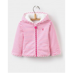 Fleece - Joules Baby COSETTE REVERSIBLE FLEECE - True Pink Stripe  - 18-24m